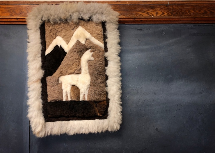 Fiber art picture of a llama or alpaca in the mountains, hanging from a classroom blackboard.