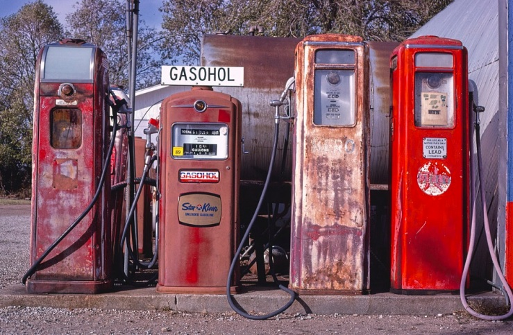 Four gas pumps in Yoder KS - 1979