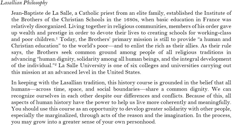 lasallian philosophy syllabus statement