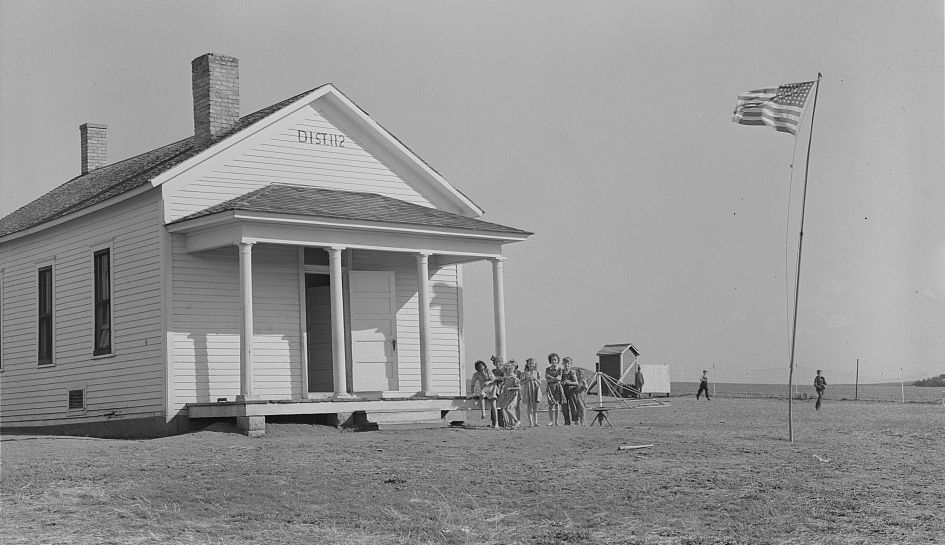 One-room schoolhouse with flagpole, Seward County, Nebraska, 1938