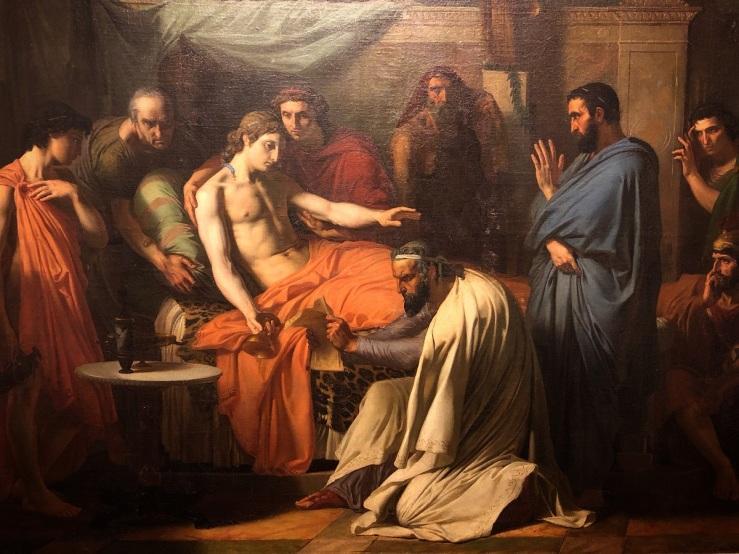 Henri Augustin Gambard, La maladie d'Alexandre, 1846. Public domain. La Salle University Art Museum.